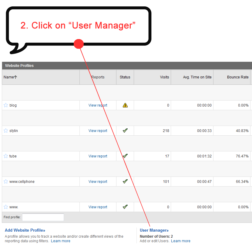 click on User Manager