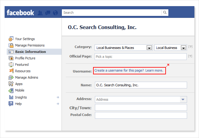 Create a Facebook username