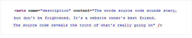 meta description source code
