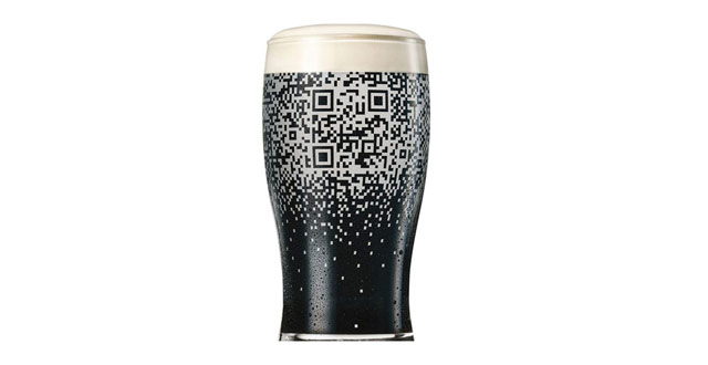 guiness beer spilling suds qr code